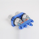 Arlows Doppel Benzinpumpenhalter inkl. Brücke für 2x Bosch 044 ( 2x 60mm, Aluminium , Blau ) | Paintball Sports