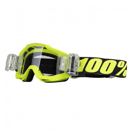 100% Prozent Motocross Brille Accuri Tresse Neon Gelb + Roll-Off System | Paintball Sports